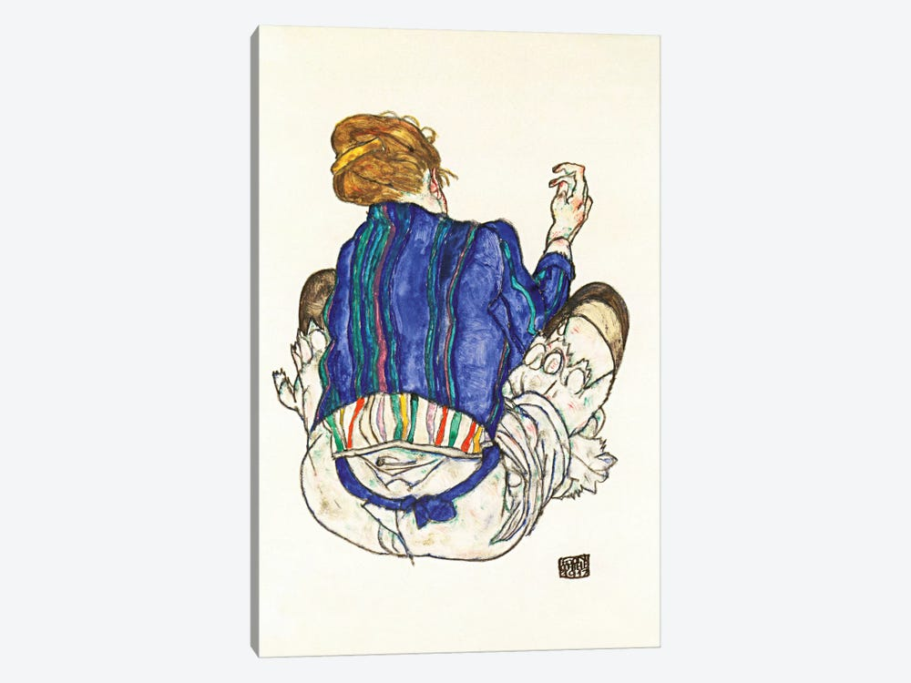 Seated Woman, Back View by Egon Schiele 1-piece Canvas Wall Art
