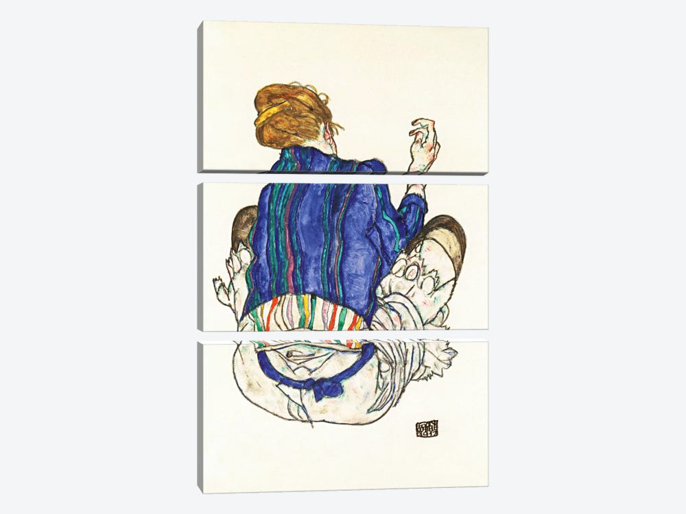 Seated Woman, Back View by Egon Schiele 3-piece Canvas Art