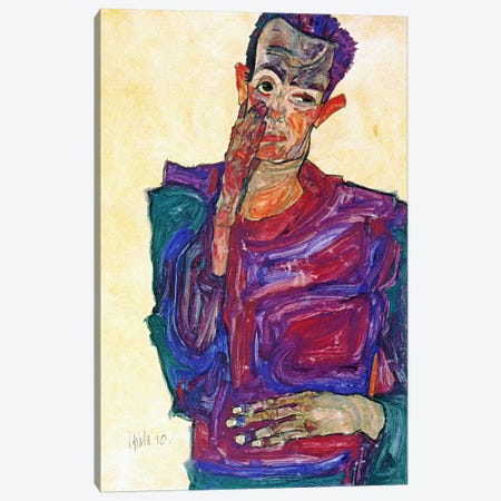 Self Portrait With Hand To Cheek 3-Piece Canvas #8128} by Egon Schiele Canvas Print