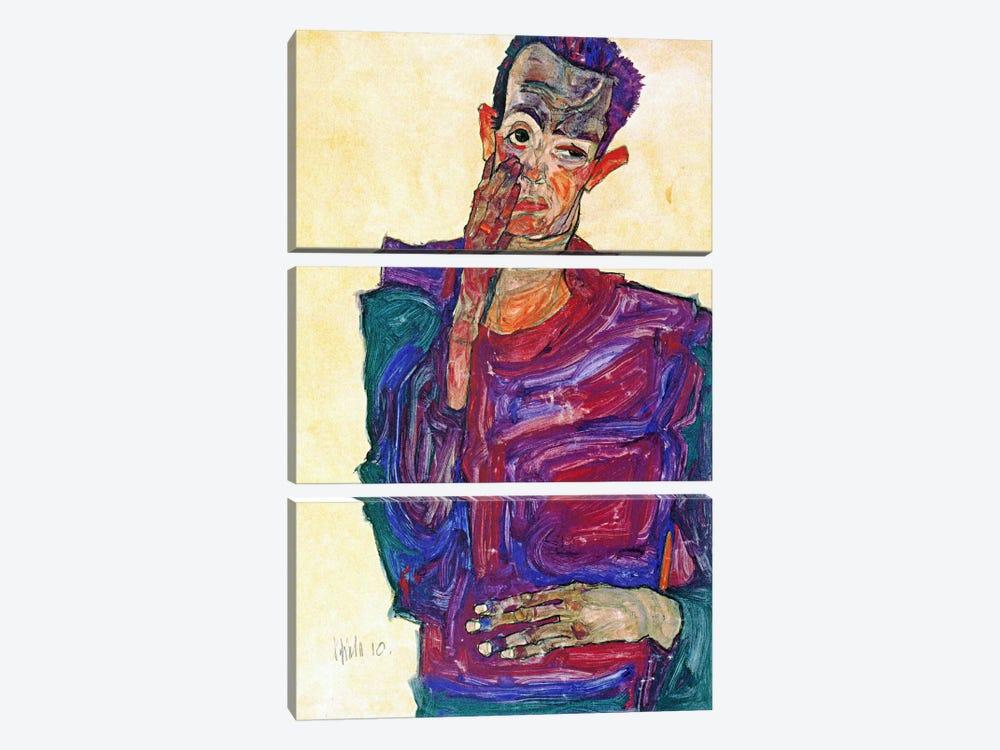 Self Portrait With Hand To Cheek by Egon Schiele 3-piece Canvas Artwork