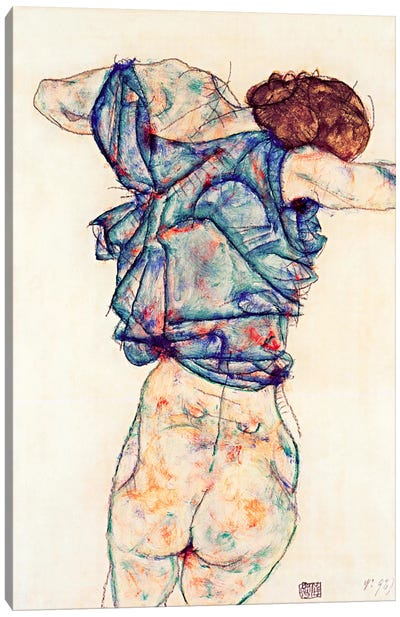 Woman Undressing Canvas Art Print