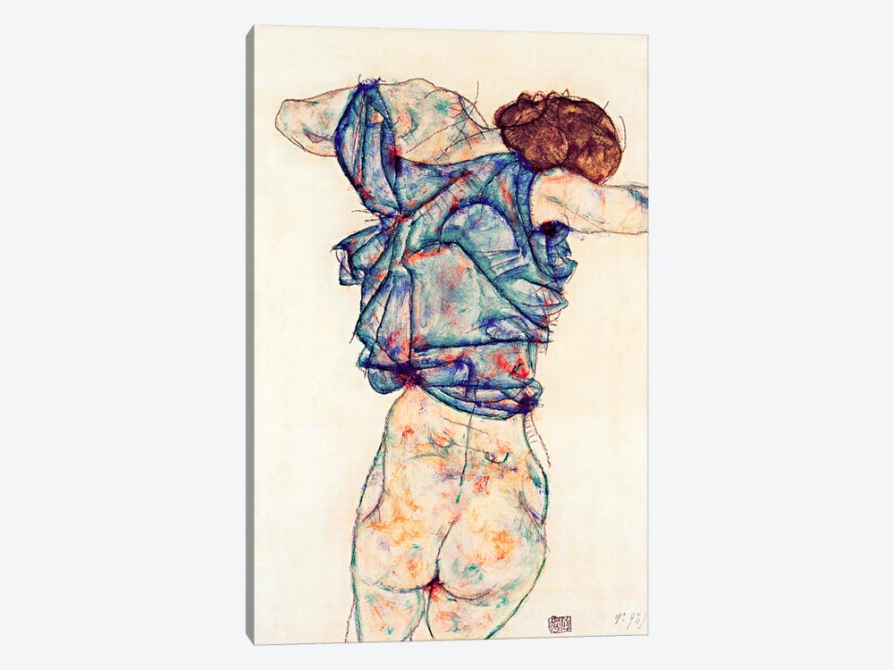 Woman Undressing by Egon Schiele 1-piece Canvas Artwork