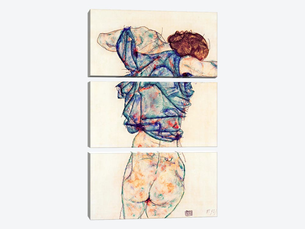 Woman Undressing by Egon Schiele 3-piece Canvas Wall Art