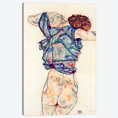 Woman Undressing Canvas Print #8133} by Egon Schiele Canvas Wall Art