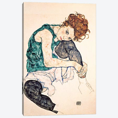 Seated Woman With Bent Knee II Canvas Print #8135} by Egon Schiele Art Print