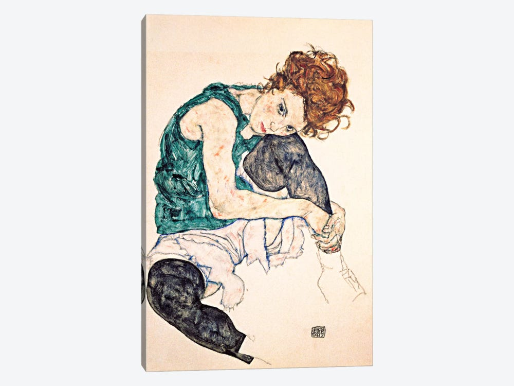Seated Woman With Bent Knee II by Egon Schiele 1-piece Canvas Art