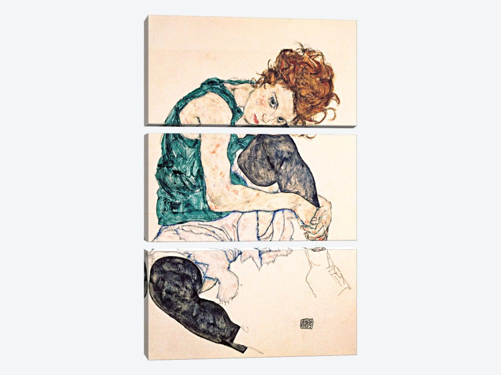 Seated Woman With Bent Knee II by Egon Schiele 3-piece Canvas Art