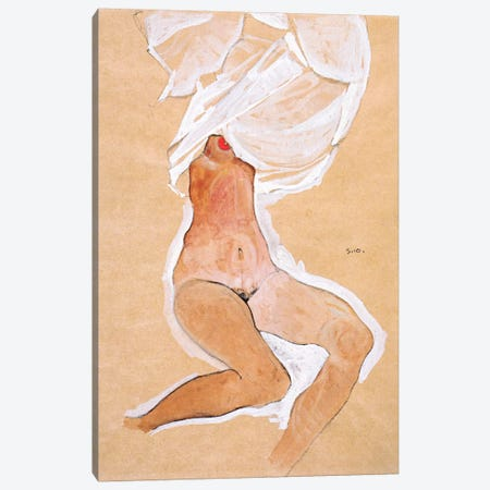 Seated Nude Girl with a Shirt Over Her Head Canvas Print #8136} by Egon Schiele Canvas Art Print