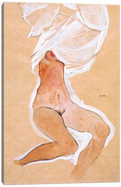 Seated Nude Girl with a Shirt Over Her Head Canvas Art Print