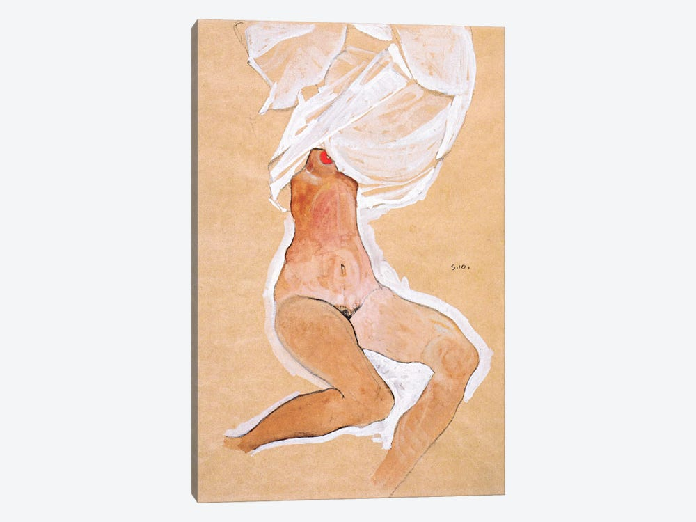 Seated Nude Girl with a Shirt Over Her Head by Egon Schiele 1-piece Canvas Art Print