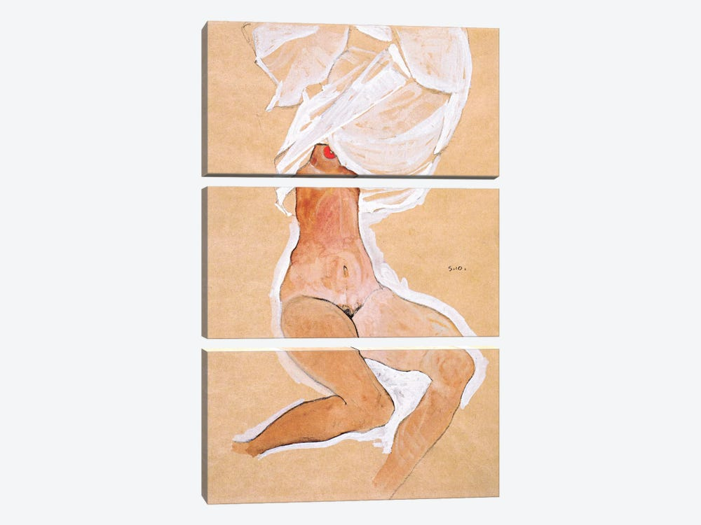 Seated Nude Girl with a Shirt Over Her Head by Egon Schiele 3-piece Canvas Print