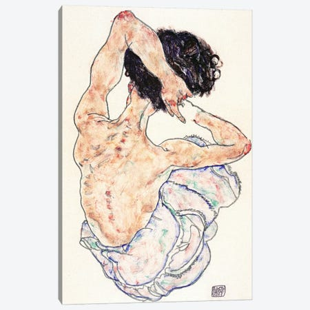 Sitting Back Act Canvas Print #8137} by Egon Schiele Canvas Print