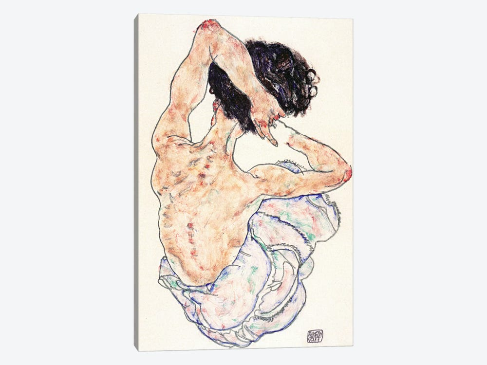 Sitting Back Act by Egon Schiele 1-piece Canvas Art
