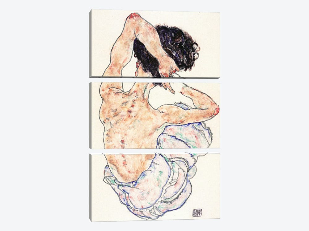 Sitting Back Act by Egon Schiele 3-piece Canvas Art