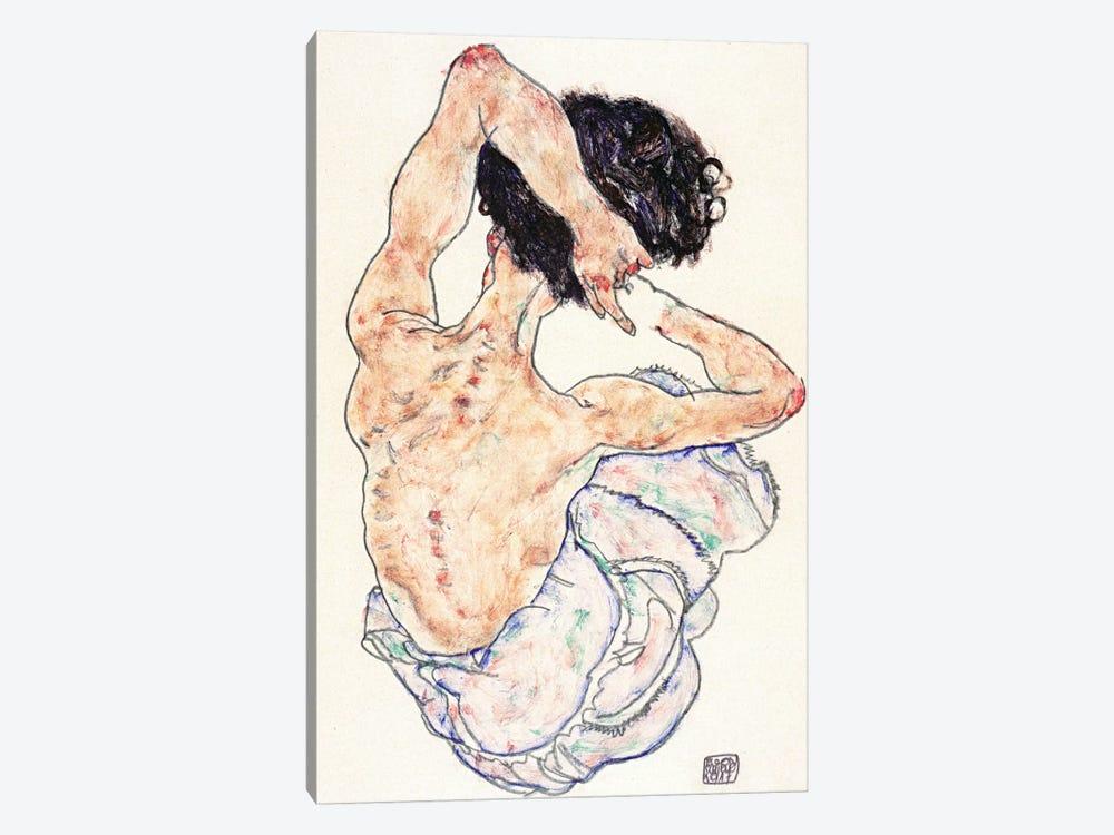Sitting Back Act by Egon Schiele 1-piece Canvas Art