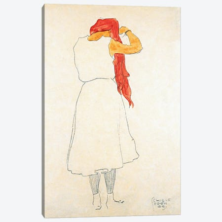 Standing When Combing Canvas Print #8143} by Egon Schiele Canvas Art Print