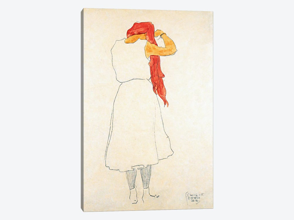 Standing When Combing by Egon Schiele 1-piece Canvas Art Print