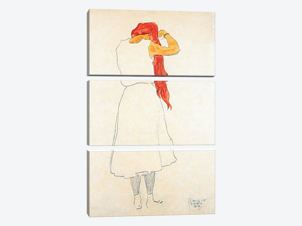 Standing When Combing by Egon Schiele 3-piece Art Print