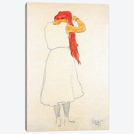 Standing When Combing Canvas Print #8143} by Egon Schiele Canvas Art Print