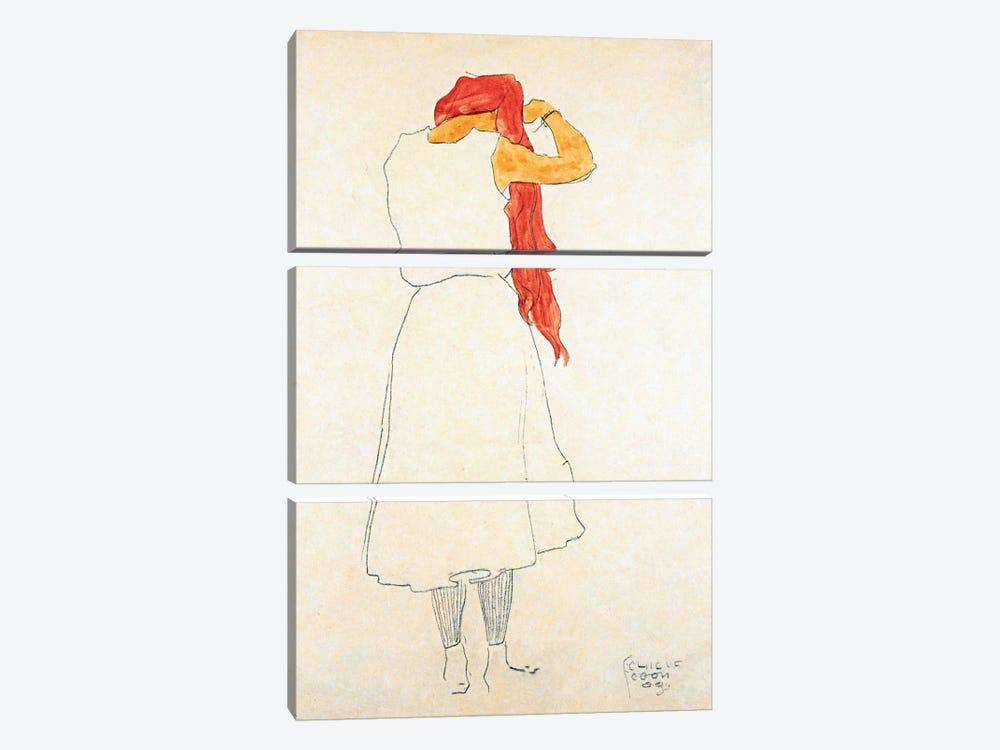 Standing When Combing by Egon Schiele 3-piece Art Print