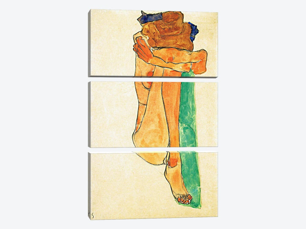 Female Nude with Green by Egon Schiele 3-piece Canvas Wall Art