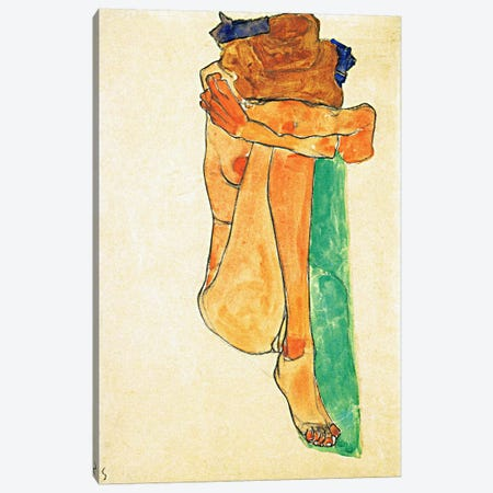 Female Nude with Green Canvas Print #8151} by Egon Schiele Canvas Artwork