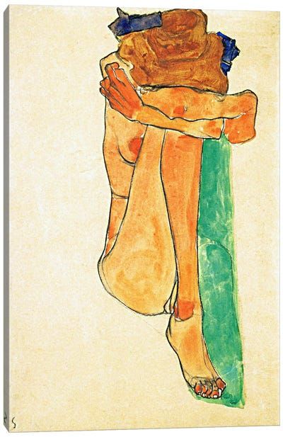 Female Nude with Green Canvas Art Print