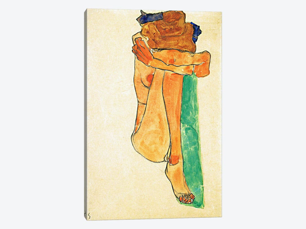 Female Nude with Green by Egon Schiele 1-piece Canvas Art