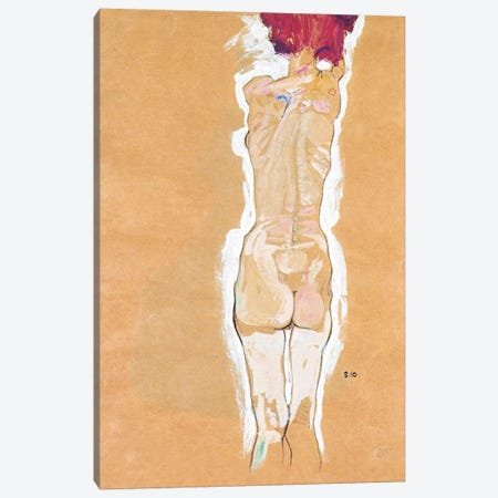 Nude Girl Standing from the Backside Canvas Print #8152} by Egon Schiele Canvas Wall Art