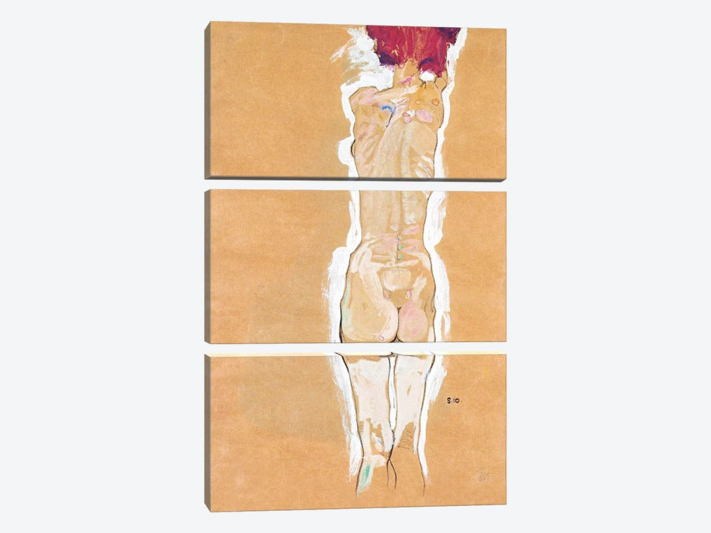Nude Girl Standing from the Backside by Egon Schiele 3-piece Canvas Print