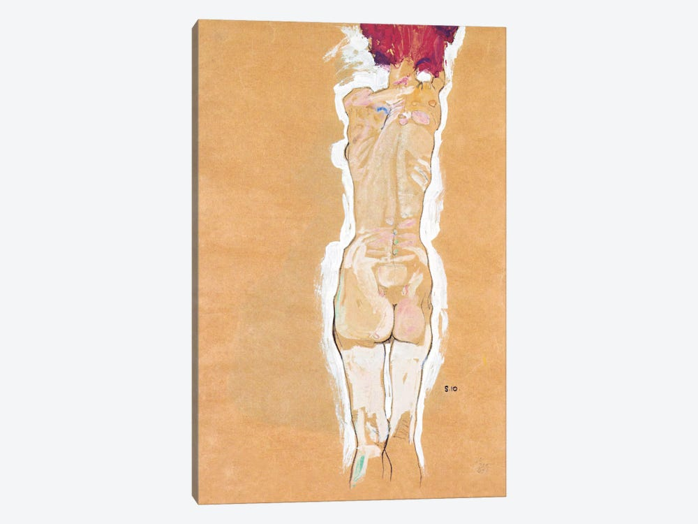 Nude Girl Standing from the Backside by Egon Schiele 1-piece Art Print