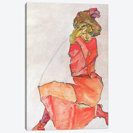 Kneeling Female in Orange-Red Dress Canvas Print #8157} by Egon Schiele Art Print