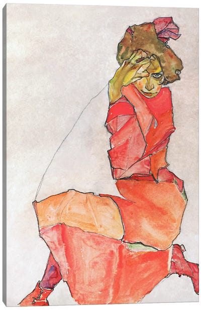 Kneeling Female in Orange-Red Dress Canvas Art Print