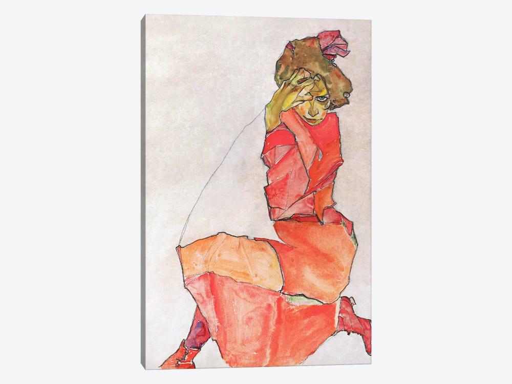 Kneeling Female in Orange-Red Dress by Egon Schiele 1-piece Canvas Wall Art