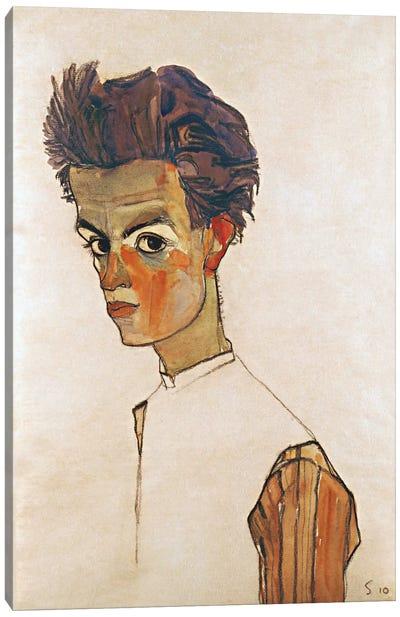 Self-Portrait with Striped Shirt Canvas Art Print