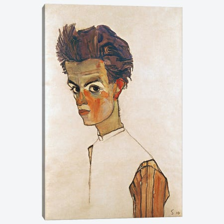 Self-Portrait with Striped Shirt 3-Piece Canvas #8165} by Egon Schiele Canvas Artwork