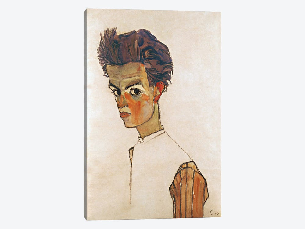 Self-Portrait with Striped Shirt by Egon Schiele 1-piece Canvas Print