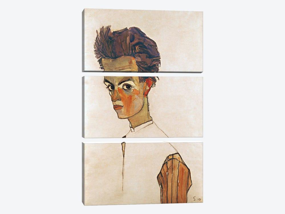 Self-Portrait with Striped Shirt by Egon Schiele 3-piece Canvas Print