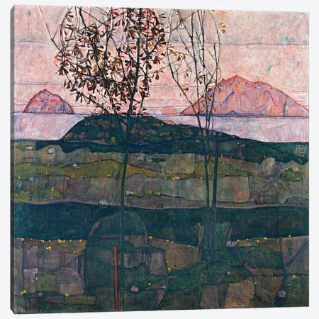 Setting Sun Canvas Print #8167} by Egon Schiele Canvas Wall Art