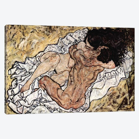 The Embrace (The Loving) Canvas Print #8170} by Egon Schiele Canvas Wall Art