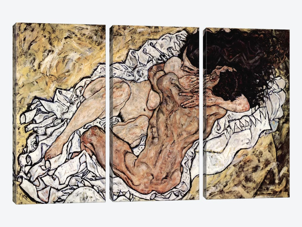 The Embrace (The Loving) by Egon Schiele 3-piece Canvas Art Print