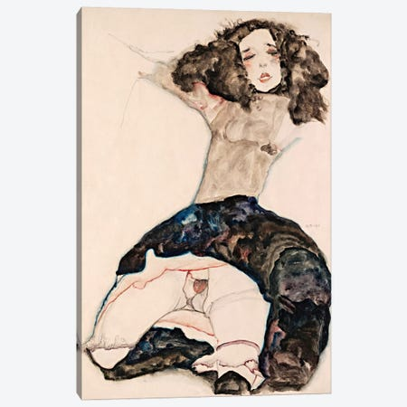 Black-Haired Girl with Lifted Skirt Canvas Print #8192} by Egon Schiele Canvas Wall Art