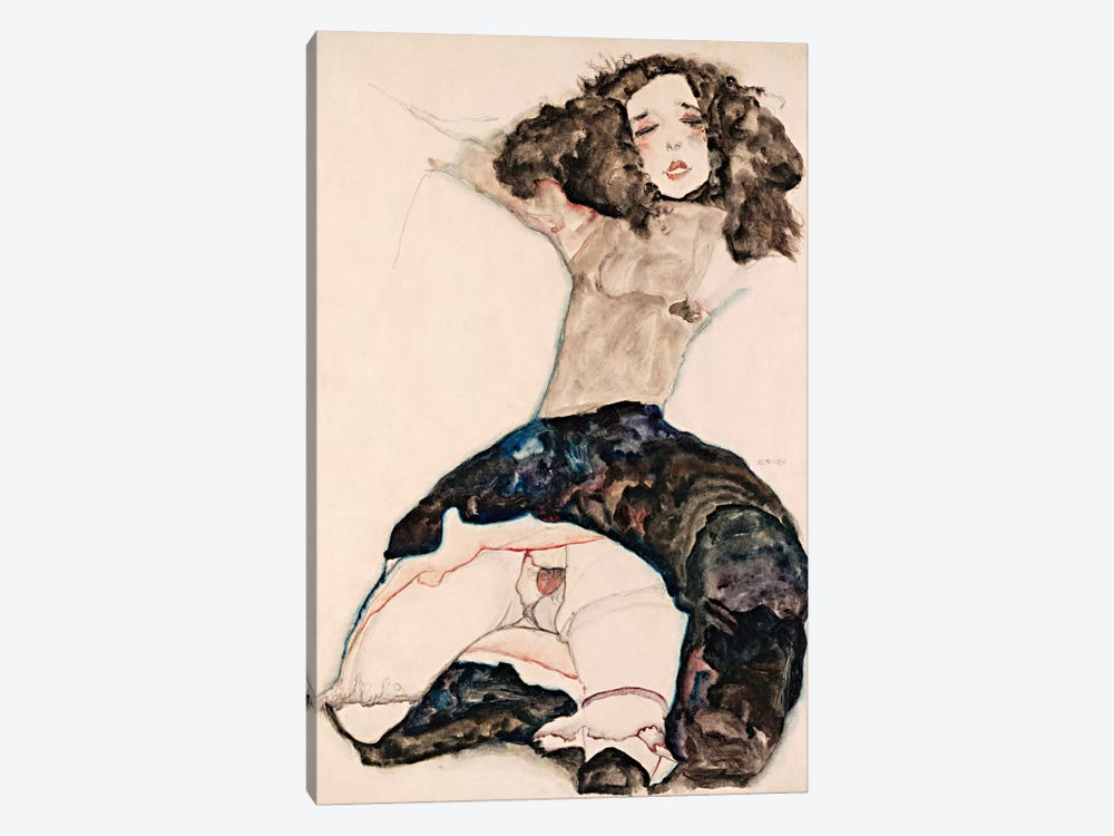 Black-Haired Girl with Lifted Skirt by Egon Schiele 1-piece Art Print