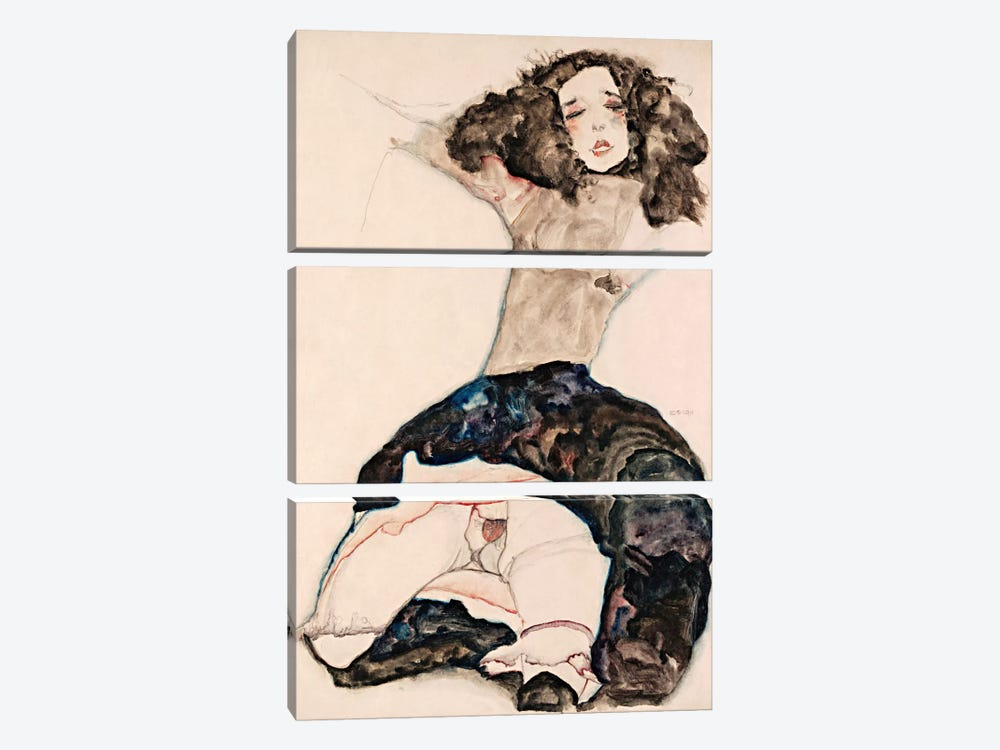 Black-Haired Girl with Lifted Skirt by Egon Schiele 3-piece Canvas Art Print