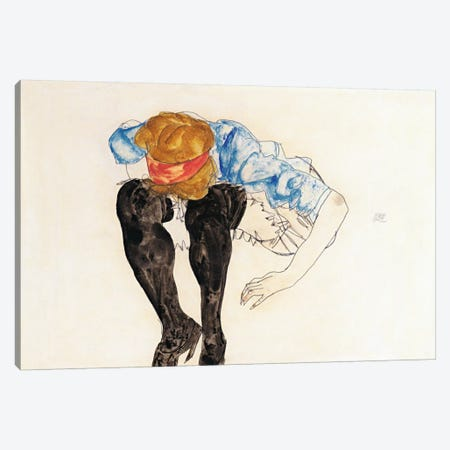 Blonde, Prevented Black Strupfen Canvas Print #8193} by Egon Schiele Canvas Wall Art