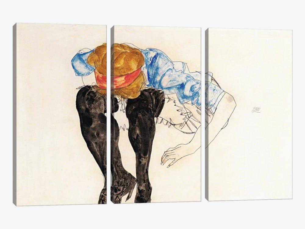 Blonde, Prevented Black Strupfen by Egon Schiele 3-piece Canvas Wall Art