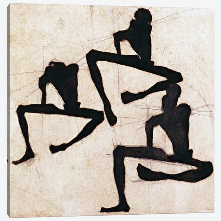 Composition with Three Male Nudes Canvas Print #8198} by Egon Schiele Canvas Wall Art