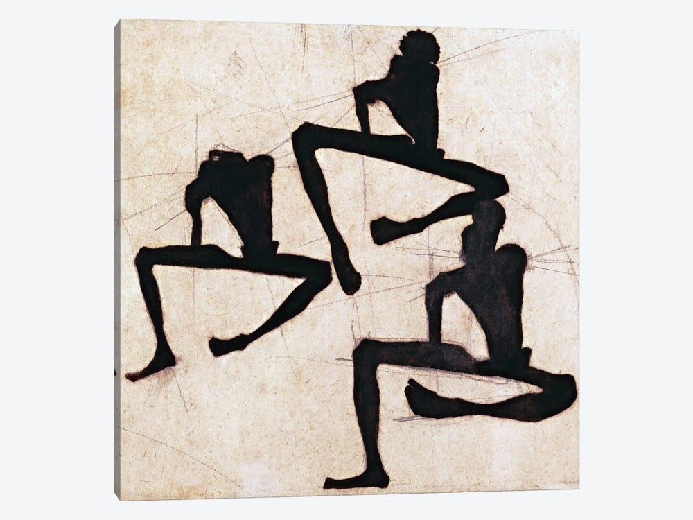 Composition with Three Male Nudes by Egon Schiele 1-piece Canvas Art Print