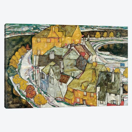 Crescent of Houses II (IslandTown) Canvas Print #8199} by Egon Schiele Canvas Wall Art