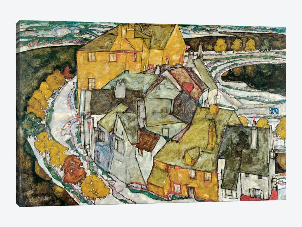 Crescent of Houses II (IslandTown) by Egon Schiele 1-piece Canvas Wall Art
